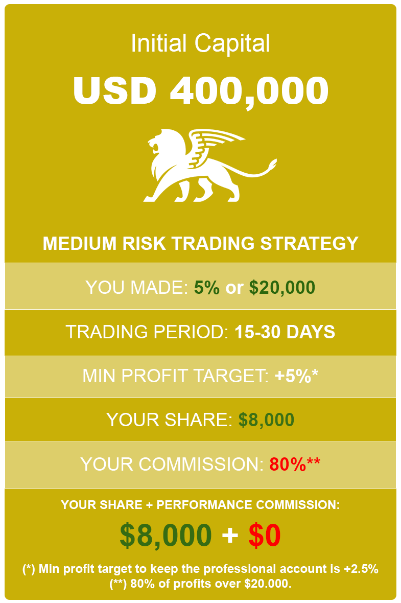 How much you can earn with 5% profit / 400K medium risk account